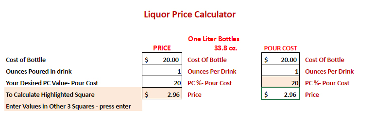 Left side: Use for calculating the  menu cost  when you know the cost of the bottle, ounces poured in recipe, and your desired pour cost percentage.   Right side: Use for determining the  pour cost percentage  when you know the cost of the bottle, ounces poured in recipe, and your business's menu cost.   * We found that this is best used for drinks that are poured straight or on the rocks.