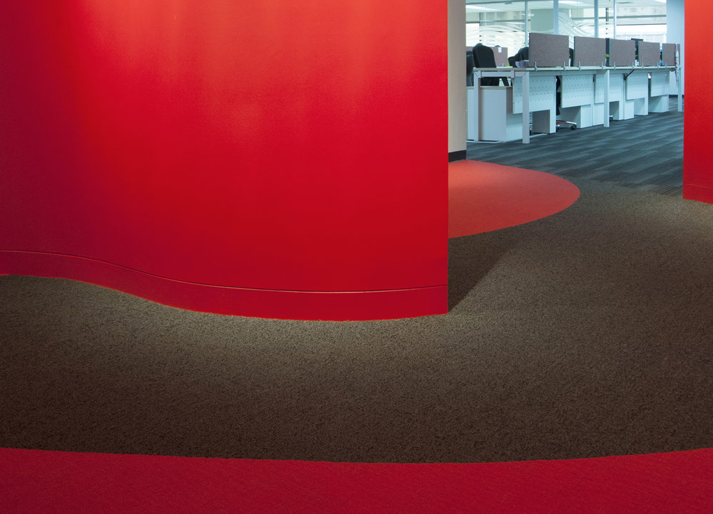 Vibrant inlayed shapes will accentuate the interior decor, and can assist with wayfinding to help navigate the space.