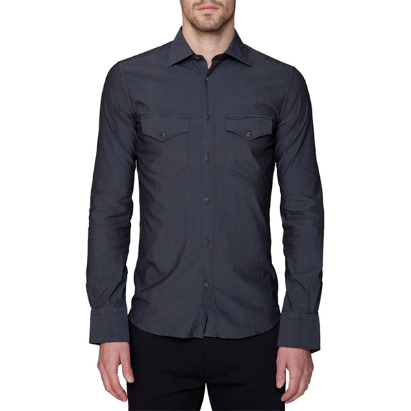 Dark Grey Button Down Shirt w/Flap Pockets — A R I