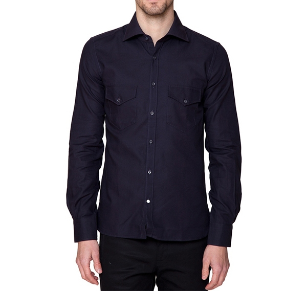 Dark Blue Button Down Shirt W  Pocket Flaps — A R I 223725540f44