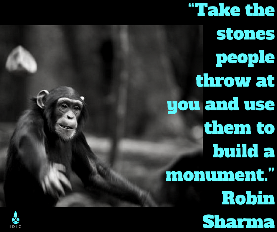 """Take the stones people throw at you and use them to build a monument."" Robin Sharma.png"