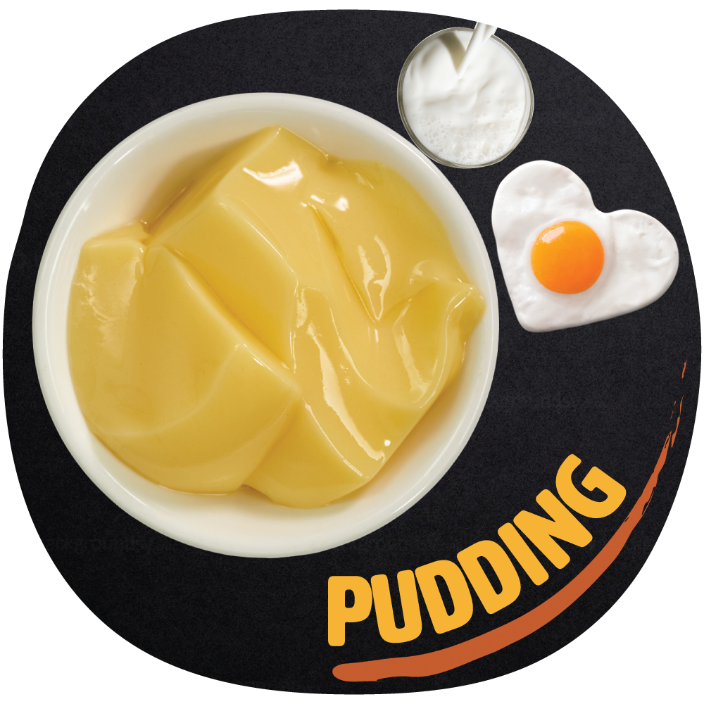 Pudding    Our pudding topping is made with whole milk, non-dairy creamer, lactose free milk and sugar.     Pudding is smooth and creamy with a jelly like texture. Its flavor is sweet and milky.