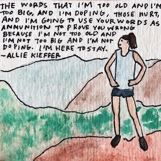 Words can hurt, but what matters most is how you approach them. @kiefferallie is one badass lady and she's using the words of online trolls in the coolest way possible. Thank you for sharing your thoughts with @runnersworldmag and thank you to the amazing artist @jacquelinealnes for bringing her words to life ❤️