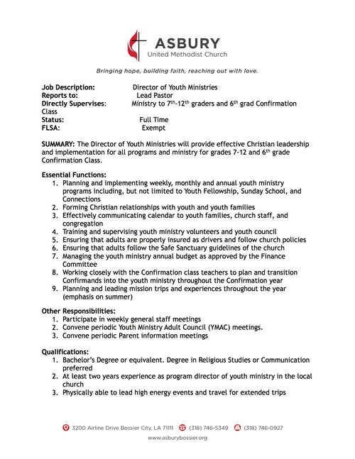 Asbury Umc Bossier Director Of Youth Ministries Job Description