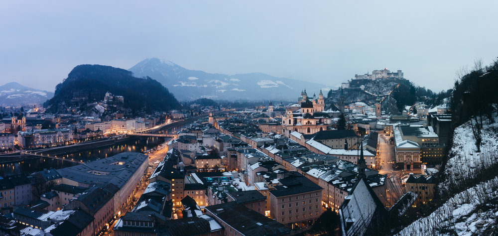 Sony a7rii | 35mm 2.8 | f18 | 13 sec | ISO 50 | 5 image stitched panoramic     This is a pretty classic view of Salzburg from Museum Der Moderne Salzburg. You can walk here from the Fortress on a few different trails, or take a lift up the mountain for a few euros.