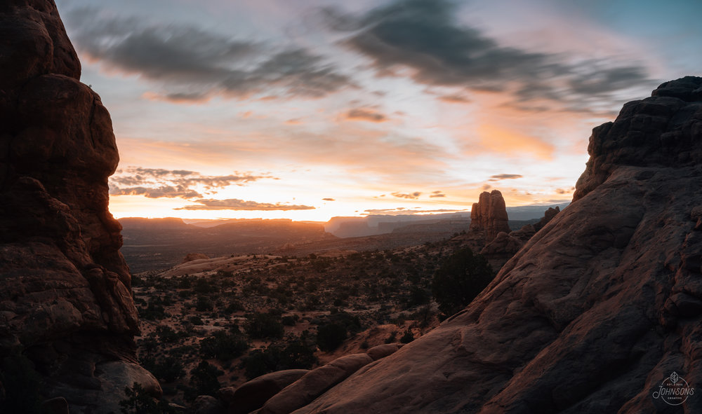 Sony a7rii | 35mm 2.8 | f7.1 | 30 sec | ISO 400 | 5 image stitched panoramic     This is looking the opposite direction than the last photo of turret arch. The rock face at the very left is where you climb up to to get the next image's viewpoint (but you'll most likely have to get lucky or Photoshop out some tourists + photographers who are standing where I am)