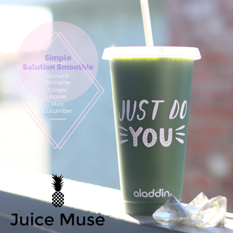 Simple Solution Smoothie    This smoothie is designed to re-energize you and can even serve as a meal replacement after a workout. 🎀 Juice Muse Tip: Add your favorite protein powder to boost your smoothie's performance.     4 oz of spinach + romaine    2 inches of fresh ginger root    1/2 (1) apple    1/2 (1) cucumber    2 oz of mint    1 cup of yogurt    1 scoop protein powder (optional)    1 cup of ice    1 cup of water    Process these ingredients with a blender.