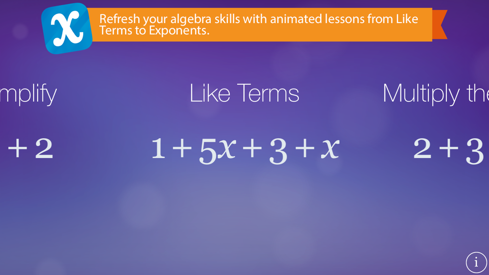 Main menu of Algebra Touch showing the 'Like Terms' lesson.