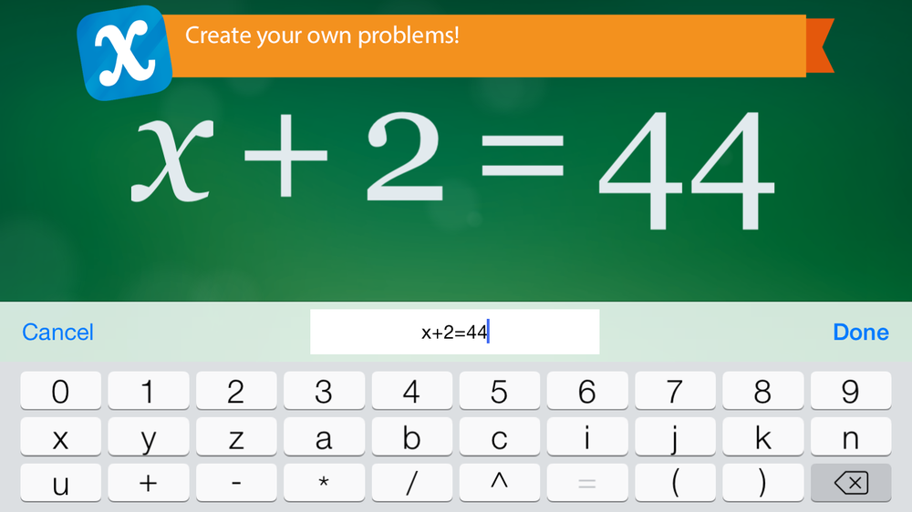 Creation screen in Algebra Touch showing a simple equation.