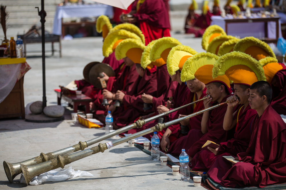 Monks practice for an upcoming ceremony
