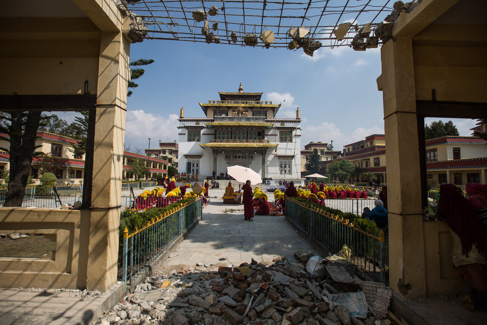 Earthquake damage at Shechen Monastery in Boudhanath, Nepal