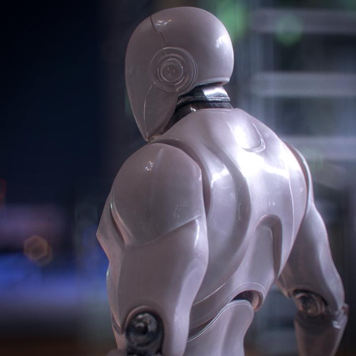 Robot guy created by AI cat next door..