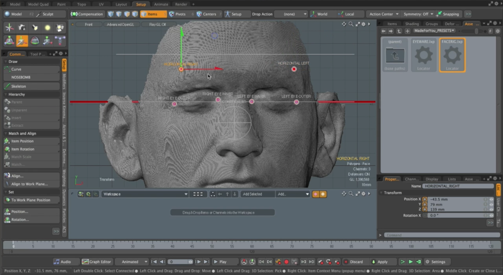 Initial facial rig used to snap to facial scans