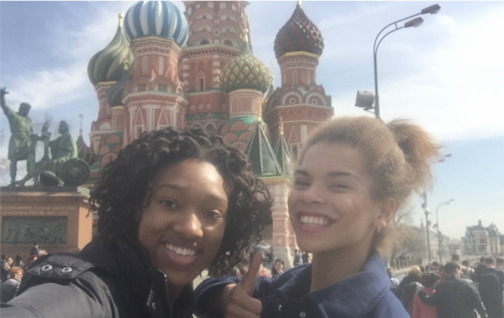 Selfie in front of Saint Basil's Cathedral with my lovely teammate turned tour guide for the day!