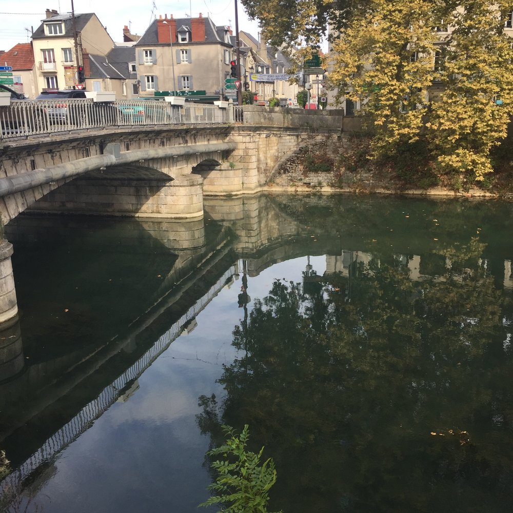 Views from Bourges, walking along the water.