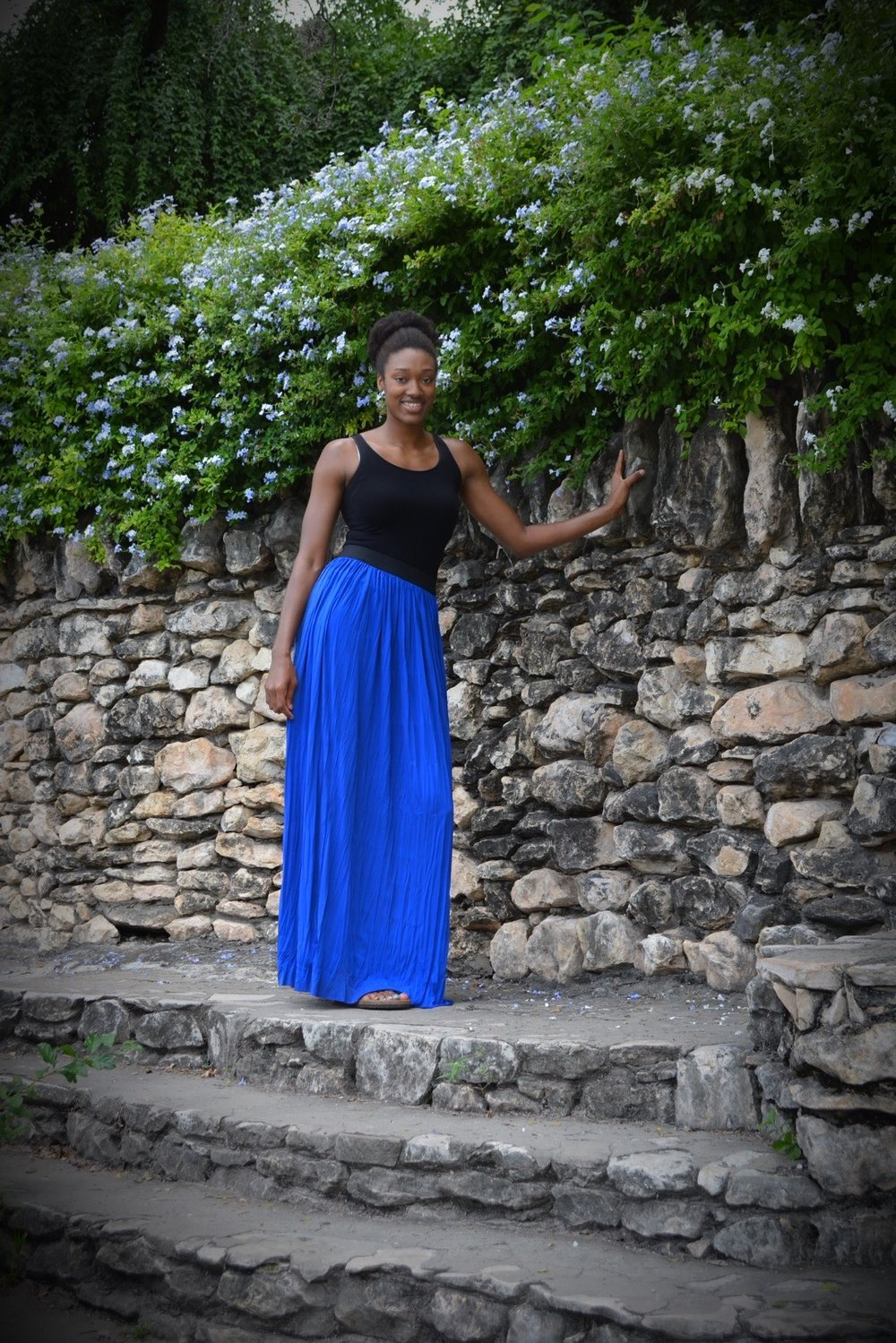Talltique black tank top and blue crinkle tall maxi skirt.