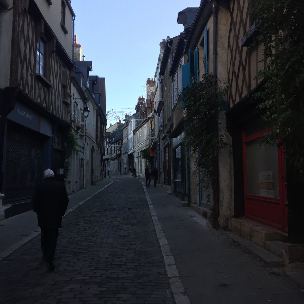 Walking the streets of Bourges trying to find Les Trois Cuilleres!