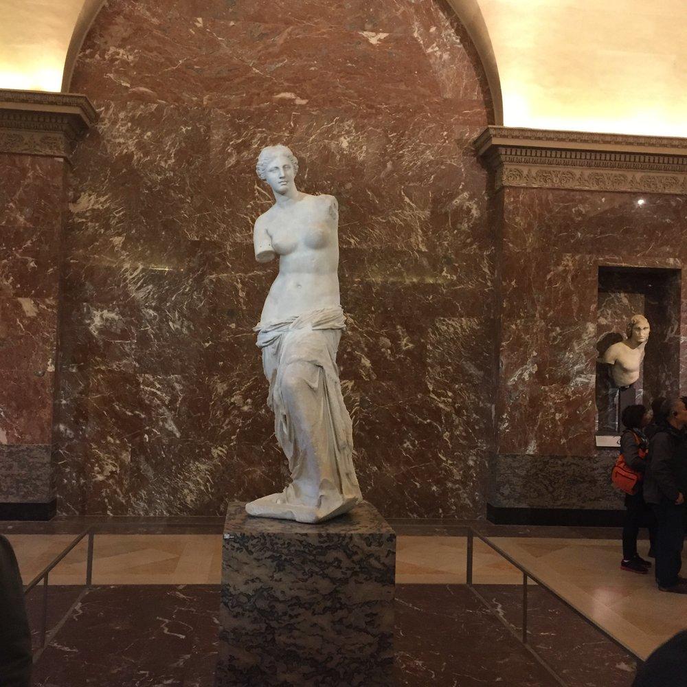 Art sculpture inside the Louvre.