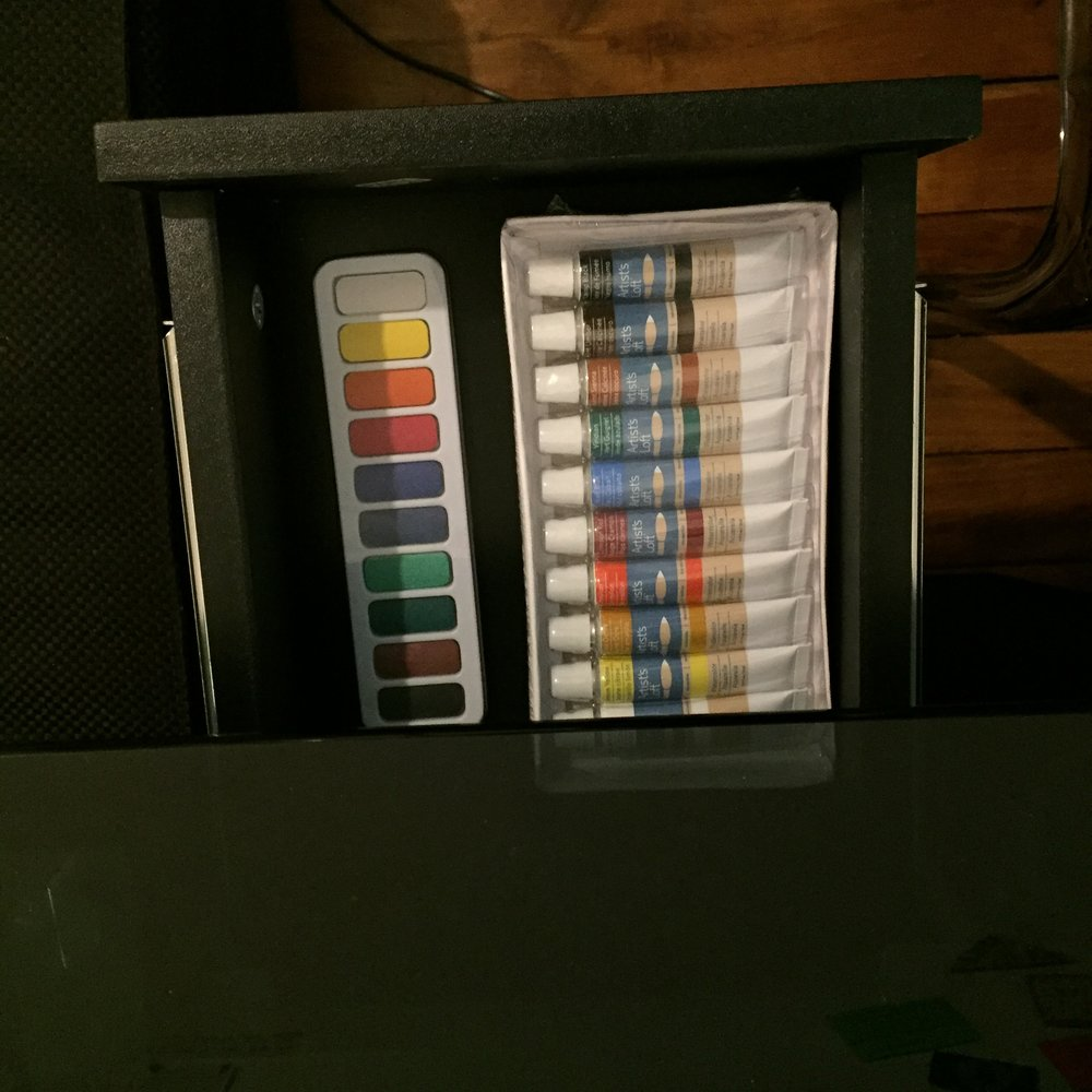 Storage for my paints, until I'm ready to use them.