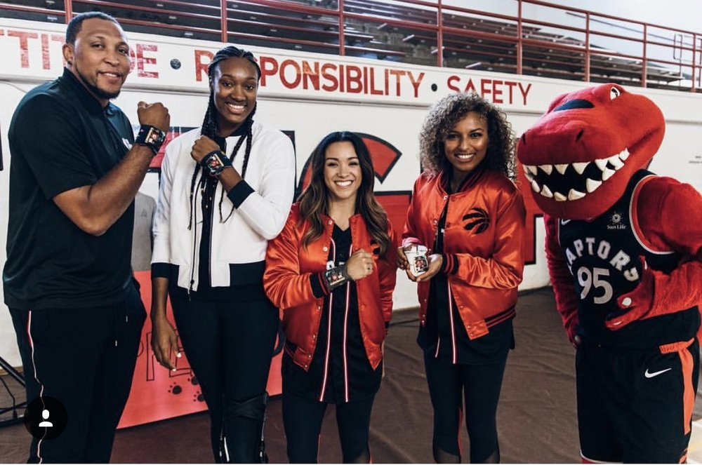 Shawn Marion, Myself, Tamera, Mariah and Raptor. Photo courtesy of NBA Canada.
