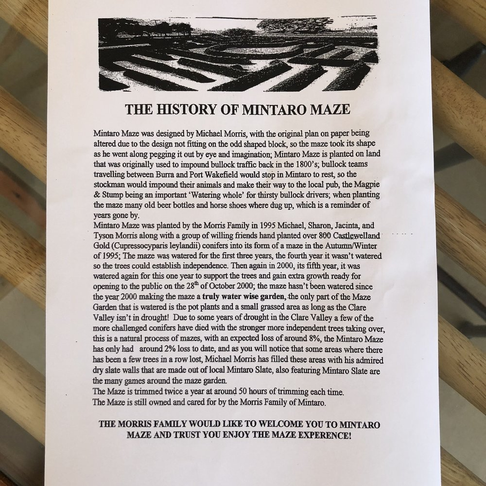 The activity sheet also included the history behind the Mintaro maze and how it came to be.