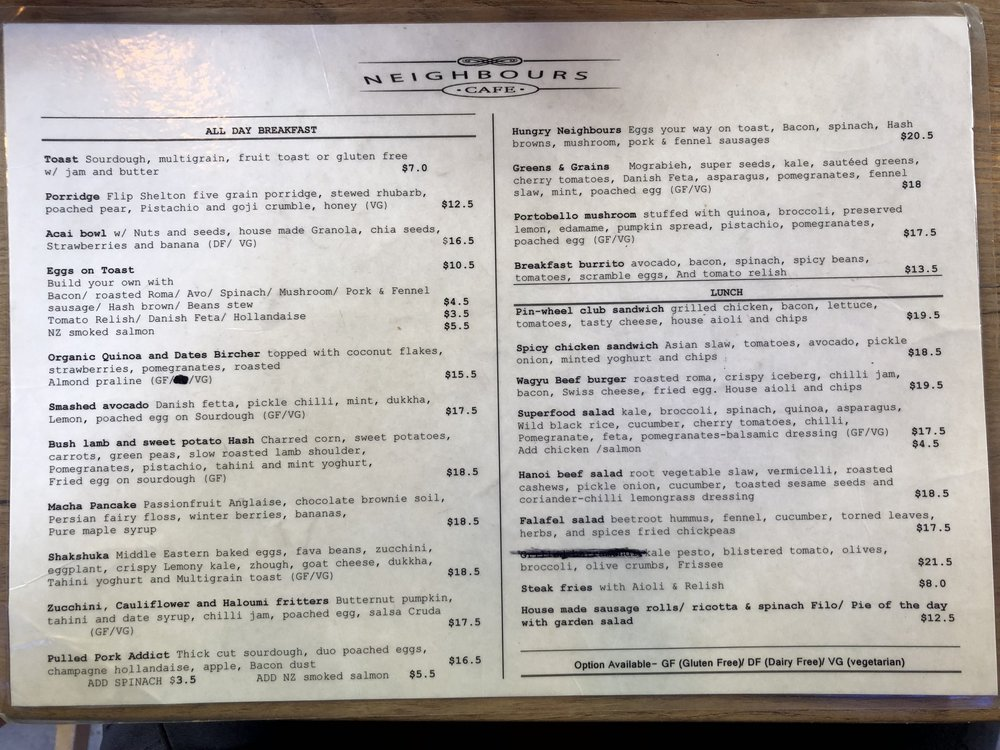 Neighbors Cafe menu.