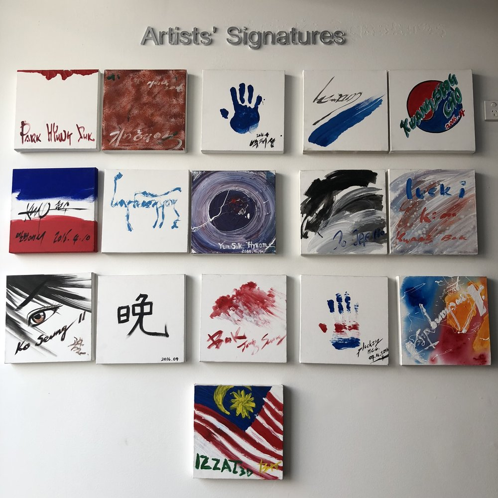 The signatures of all the artist who created the paintings in Art Vo!