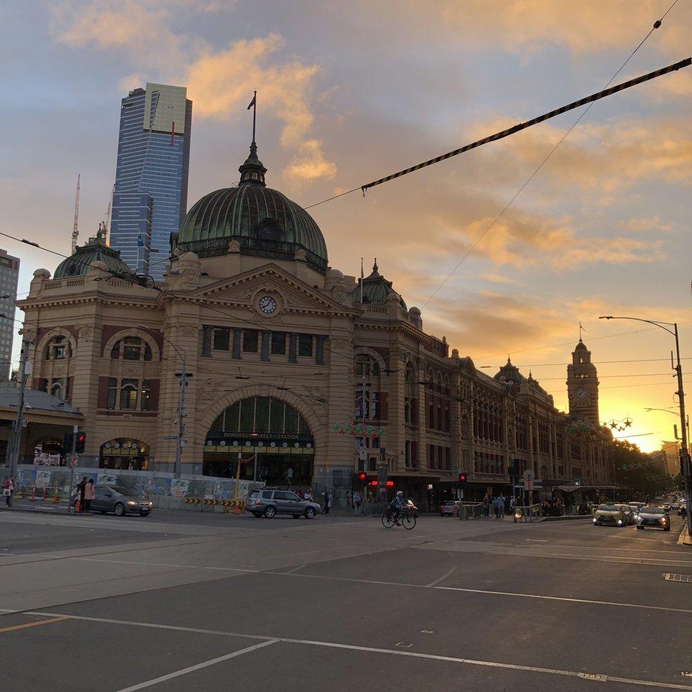 Flinders Street Railway Station.