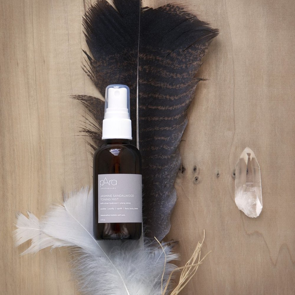 pAra Apothecary Jasmine Sandalwood Toning Mist. Contains colloidal silver hydrosol.