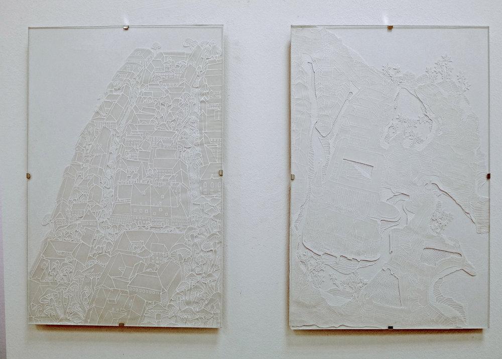 Különös növények , 2018. Model magic and embroidery on found photographs, pen on paper. Exhibited at Tinta Gallery.
