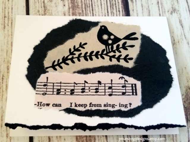 SONGBIRD Music Black White Birds Notecard Set Your Song Designs