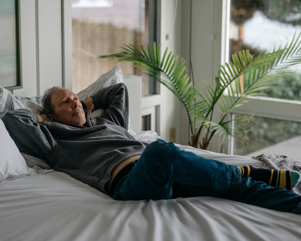 Sweet dreams: Charles Hall, the inventor of the water bed, on an Afloat Water Bed in his home on Bainbridge Island, Wash.  Credit  Ian C. Bates for The New York Times