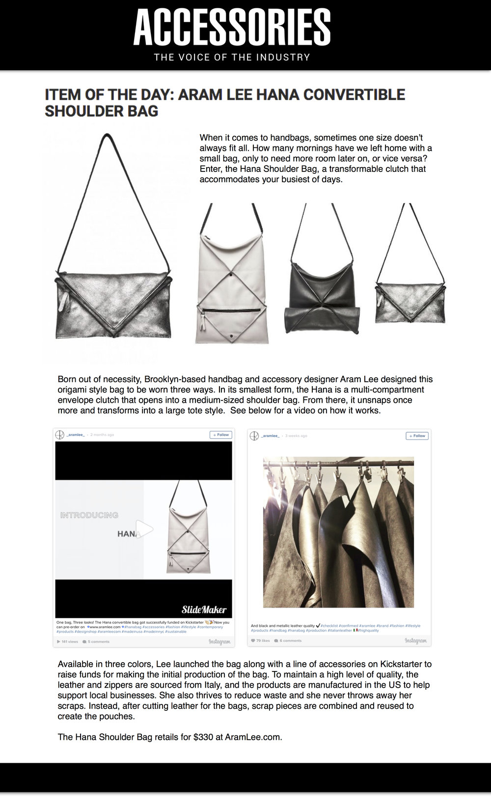 Hana Convertible Bag - ACCESSORIES MAGAZINE