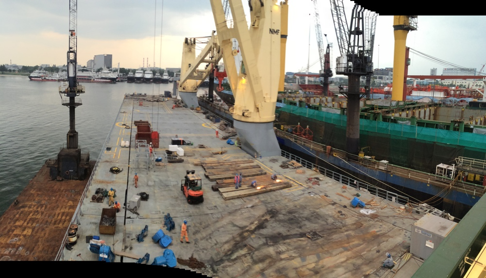 The deck of the M/V SVENJA under construction in a shipyard in Singapore. The hard points for the winches and wires are about to be welded to the deck.