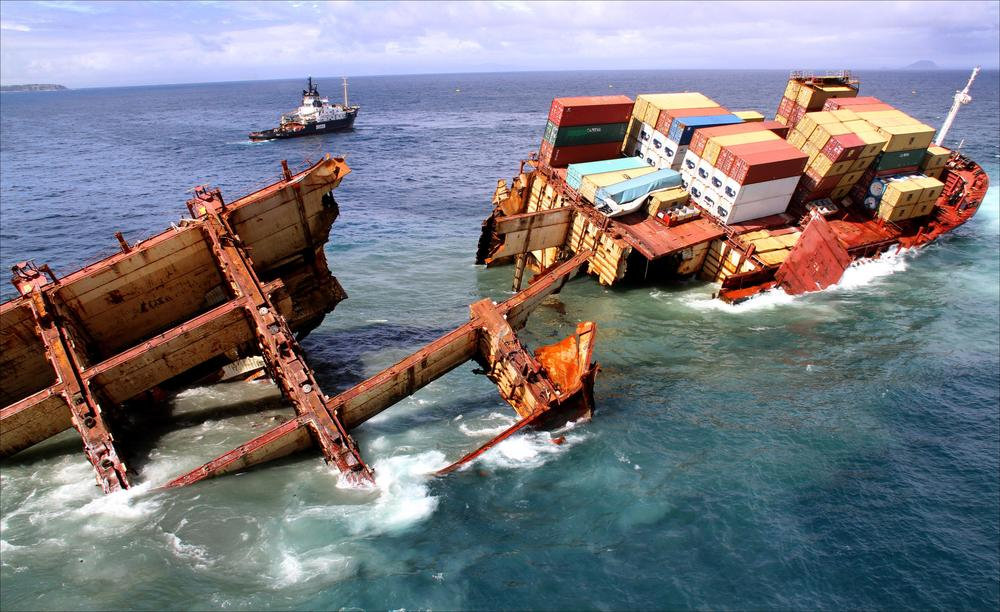 The wreck of the M/V RENA on Astrolabe reef after some containers were removed