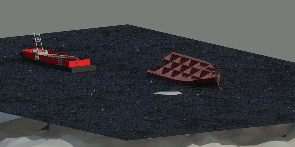 Our team's salvage concept, a small barge with a mobile crane that could be brought into position