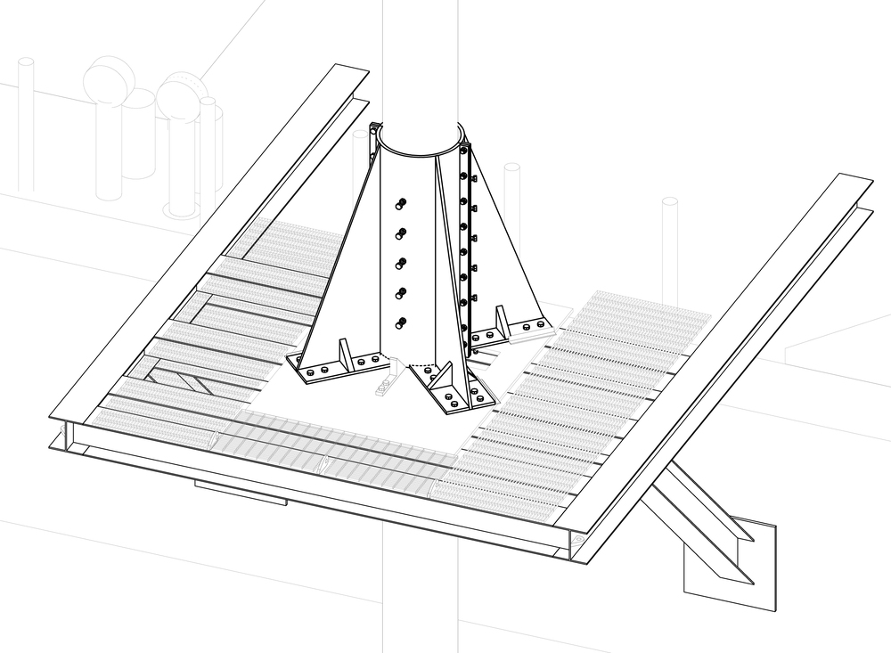 A 3D drawing of the chisel, in-situ.