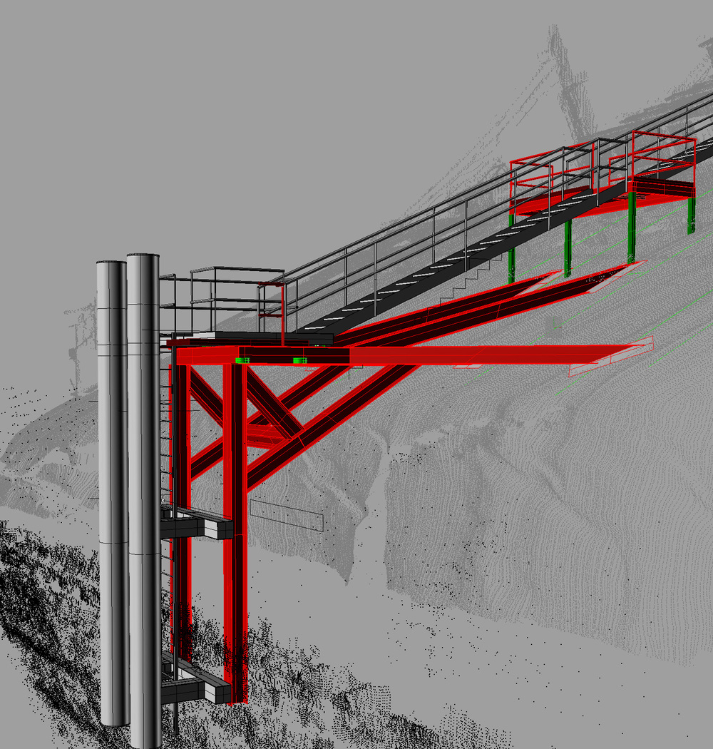 The ladders, as designed, showing the LIDAR and multibeam scan as a reference
