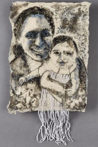 "BONI & BROOKE 2016 19 1/2"" x 10"" Mixed media on handmade paper"