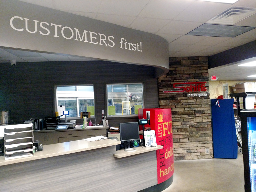 Schiffs Customers First Sign.jpg
