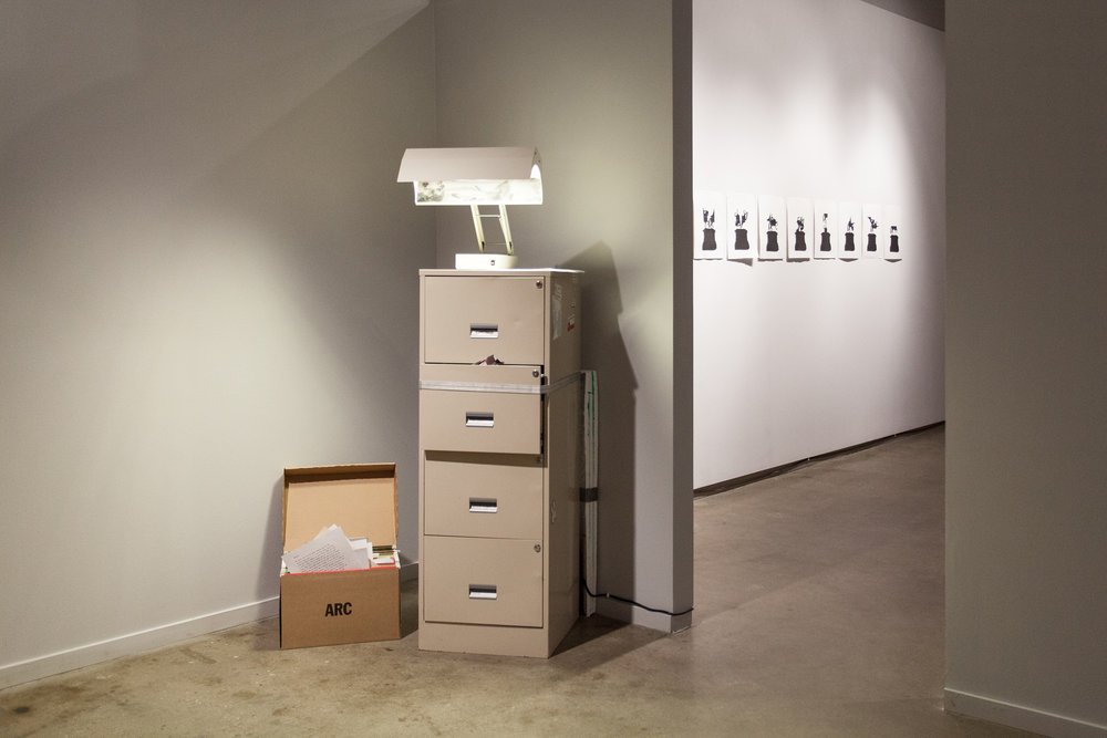 Archive of the Internet, Installation, Filing Cabinet, File Folders, 'Files' and Sad Lamp, 2017