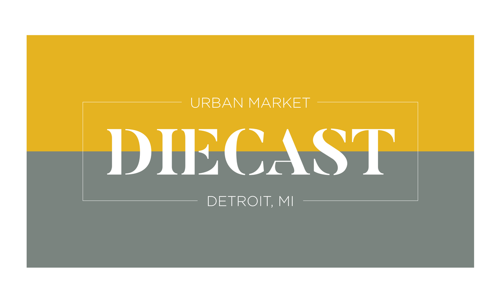 Diecast is an urban market concept design to be located in Detroit. The goal is to create a space that showcases the best that the city has to offer while creating a space for a flourishing community. With a goal for the project to be in a redeveloped space such as a warehouse or a factory, the aesthetic needed to have an industrial theme. The brand was engineered to encompass a modern edge with an engaging and inviting color scheme to match. The space is meant to give a nod to the commerciality of the city, but it also plays off of those themes what a modern design sense.