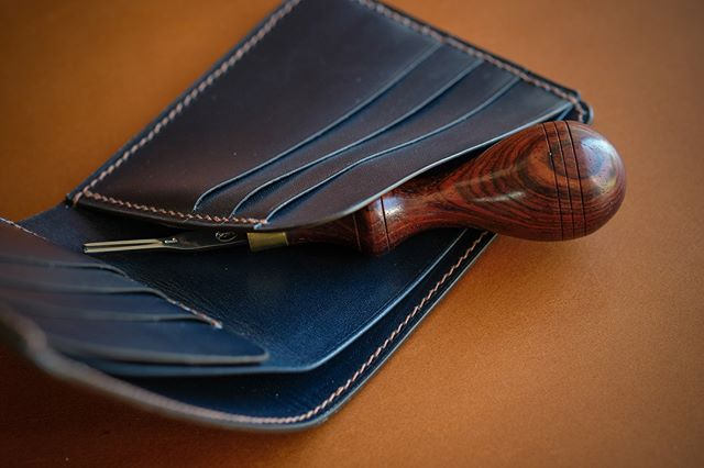 Completed: Model 2 Bifold in navy genuine French Box Calf, hand sewn fawn thread, and chocolate edge. You can customize any of my products to match your style or choose from my preferred color pairings.