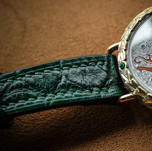 Detail Gallery: Completed bespoke watch strap in forest green American alligator for this stunning @montanawatchcompany time pieces.