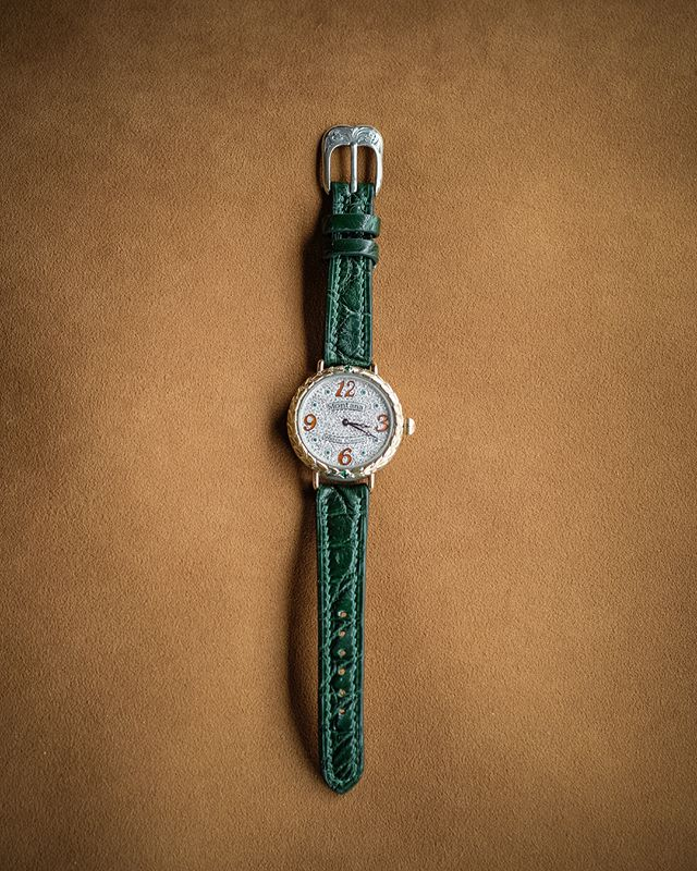 Final Gallery: Completed bespoke watch strap in forest green American alligator. Hand sewn with green linen thread.