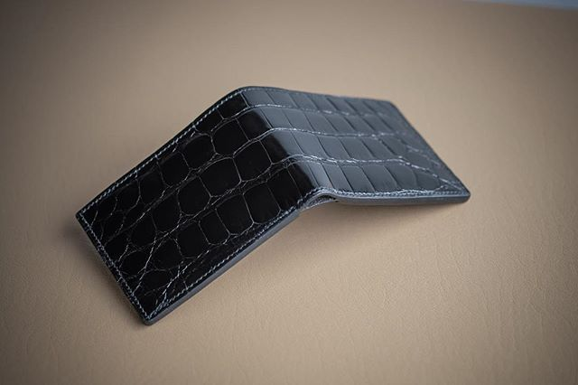 Completed: Made to Order Model 2 Bifold Wallet in black glazed American alligator.