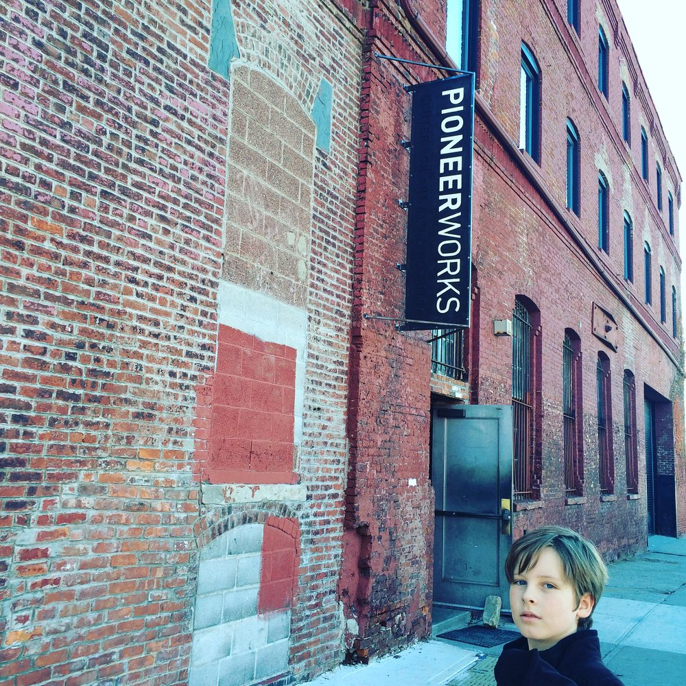 Emil, our youngest team member, at Pioneer Works on commencement of the inaugural Alternative Art School Fair, November 2016.
