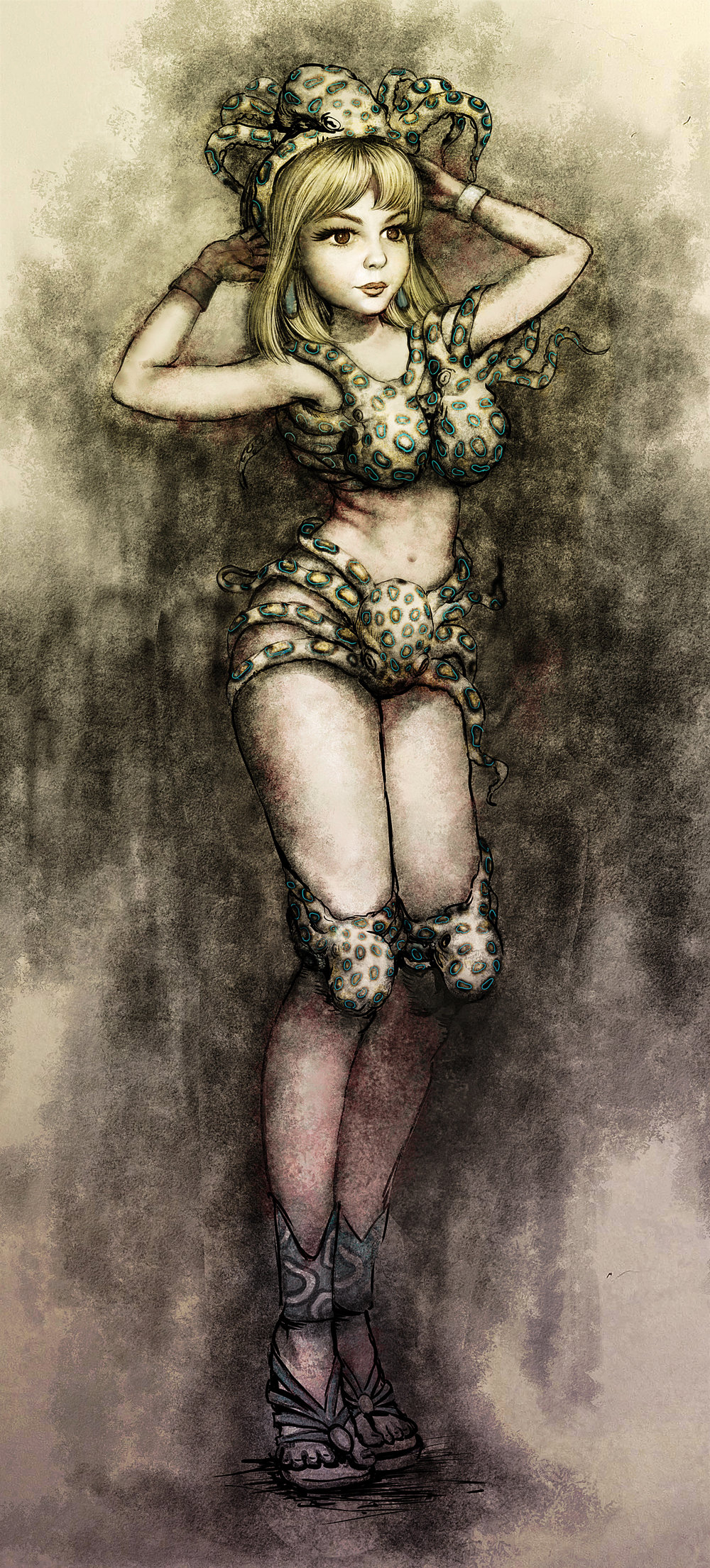 BLUE RINGS–Graphite and digital color. Conceptual illustration for outfit design inspired by the blue ringed octopus.