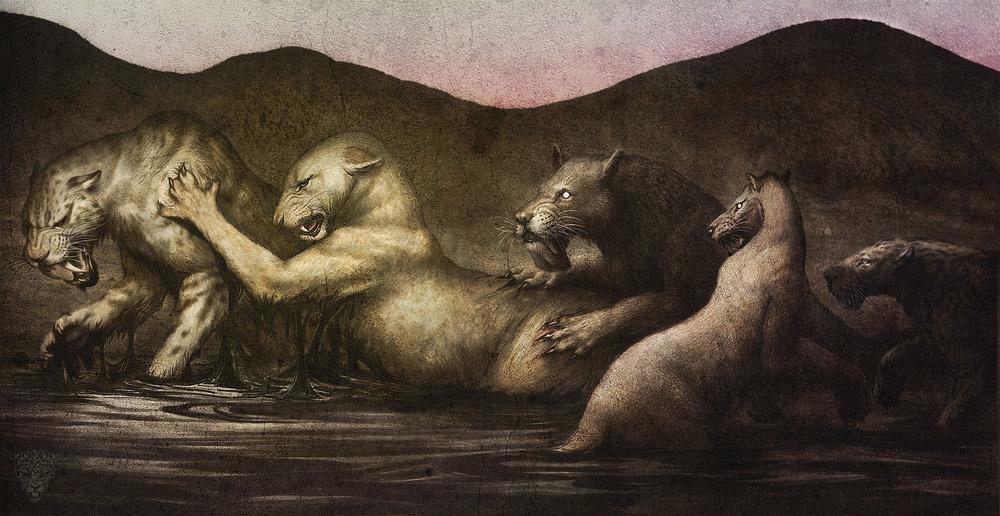 SABERTOOTHS– Graphite and digital texture. A compilation of sabertooth predators from left to right:  Smilodon ,  Panthera atrox ,  Barbourofelis ,  Homotherium  and  Xenosmilus .