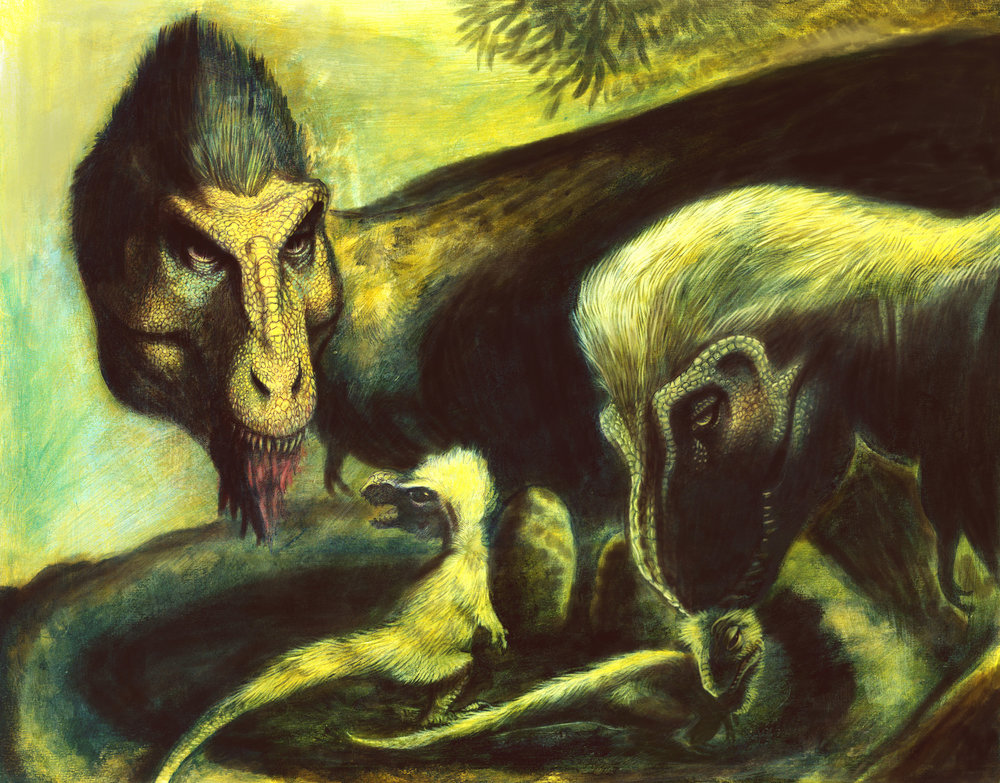 MOTHER AND CHILD REUNION–Graphite and acrylic on poster board. A depiction of tyrannosaur family behavior. Males and females are thought to have cared for the young, much like birds.